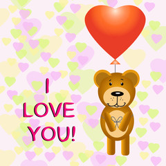 Illustration of Happy Valentine card with Teddy bear