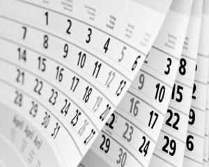Kalender in schwarz-weiß