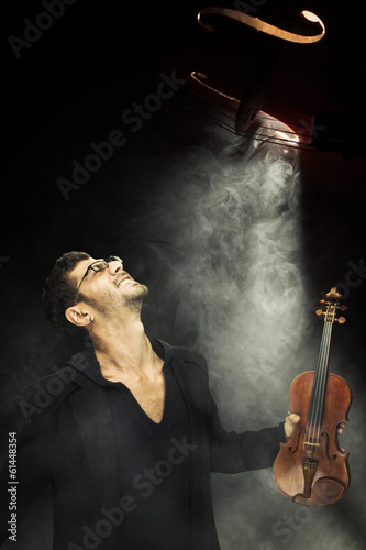 Handsome Male violonist