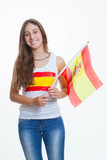patriotic spanish teen waving flag