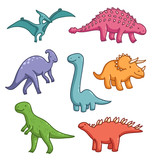 Cute dinosaurs vector collection