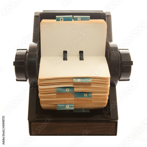 Old Rolodex photo isolated on white