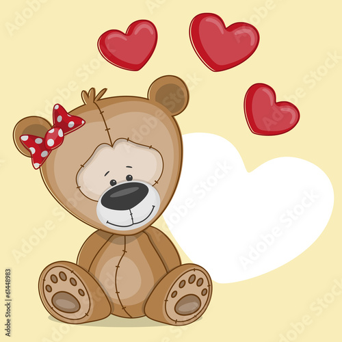 Girl bear with hearts