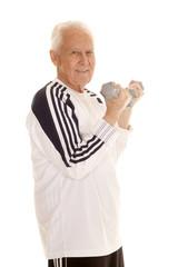 Elderly man fitness weights curl