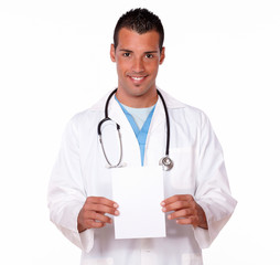 Male hispanic doctor holding a blank card