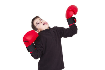 Young guy with boxing gloves, lifestyle and sport