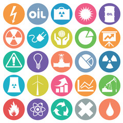 Energy Icon set flat circle