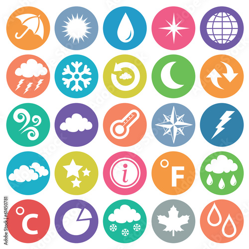 Weather icon set flat circle