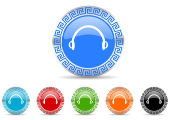 headphones icon vector set