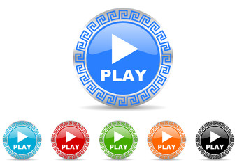 play icon vector set