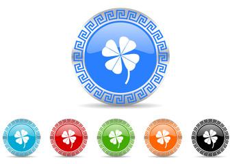 four-leaf clover icon vector set