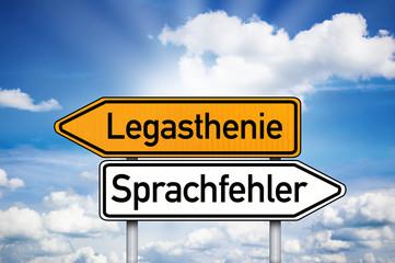Wegweiser mit Legasthenie und Sprachfehler