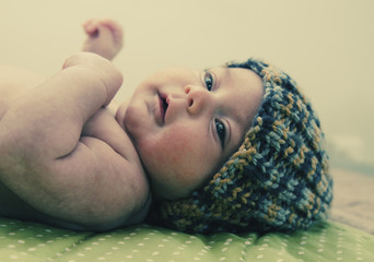 one month old aborable baby.  Photo in old image style
