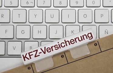 KFZ-Versicherung. Tastatur