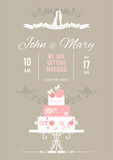 Vector wedding card with wedding cake
