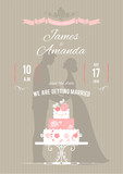 Wedding invitation with wedding cake