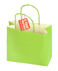 shopping bag and warranty tag
