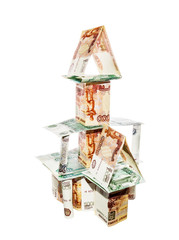 House made of banknotes with nominal five and one thousand ruble