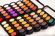 Cosmetics. Colorful eye shadows palette. Makeup background