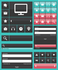 Flat web elements icons