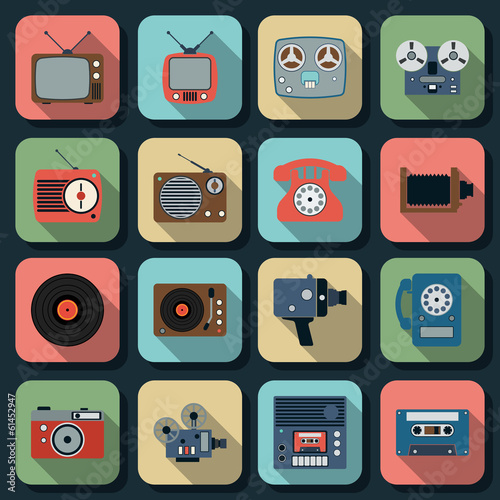 Retro electronic flat vector icons