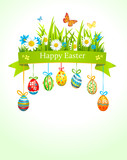 Spring easter background with eggs