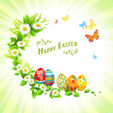 Easter festive background with flowers and eggs