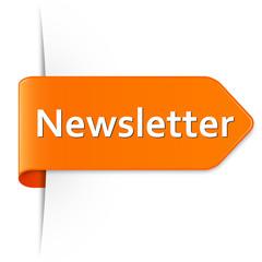 Langer orangener Sticker Pfeil – Newsletter