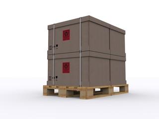 Holzpalette mit Kartons