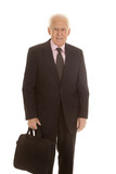 Elderly business man hold bag smile