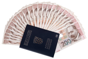 Croatian passport with Croatian money, isolated on white