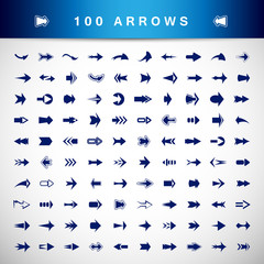 Arrow Icons Set - Isolated On Gray Background