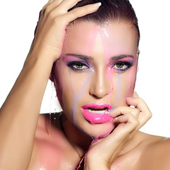 Fluor Makeup Explosion. Colorful Beauty and Fashion under water
