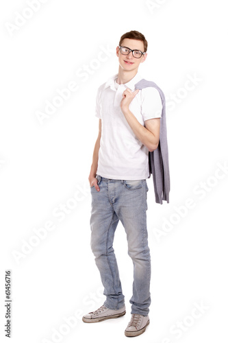 Portrait of a young man, isolated on white background