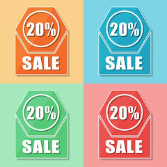 20 percentages sale, four colors web icons