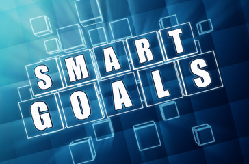 smart goals in blue glass cubes