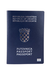 Croatian passport isolated on white