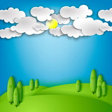 Sunny Meadow landscape of vector illustration