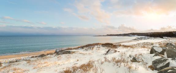 Ocean shore on a winter day