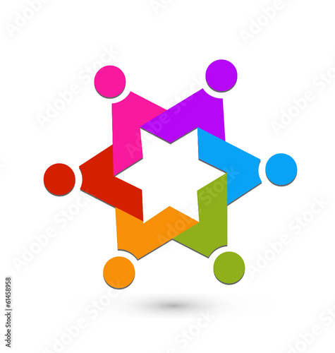 Teamwork star logo vector