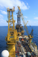 Derrick of Tender Drilling Oil Rig on The Production Platform