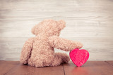 Teddy Bear with red heart shaped box