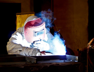 steel welder at work