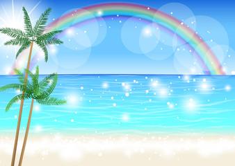 南の島の海と虹