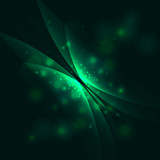 Abstract space background with green butterfly