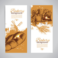 Set of bakery sketch banners. Vintage hand drawn illustrations