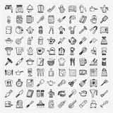 Fototapety doodle kitchen icons