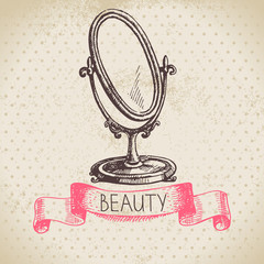 Beauty sketch background. Vintage hand drawn vector illustration