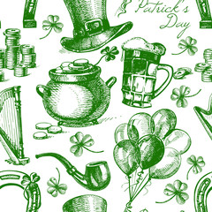 St. Patrick's Day seamless pattern with hand drawn sketch illu