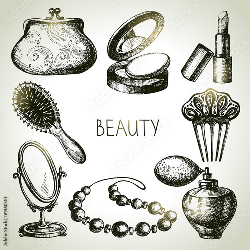 Beauty sketch icon set. Vintage hand drawn vector illustrations